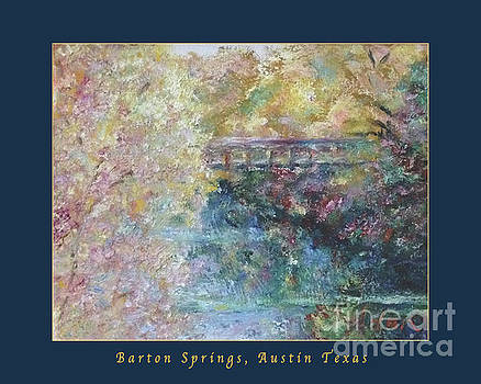 Felipe Adan Lerma - Birds Boaters And Bridges Of Barton Springs - Autumn Colors Pedestrian Bridge Greeting Card Poster