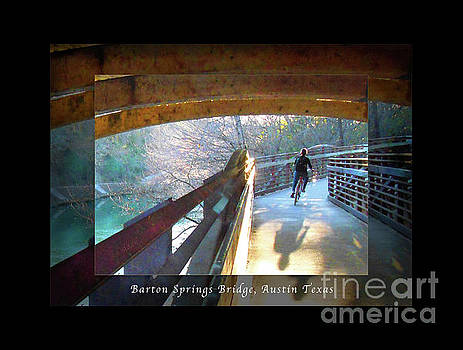 Felipe Adan Lerma - Birds Boaters and Bridges of Barton Springs - Bridges One Greeting Card Poster v2