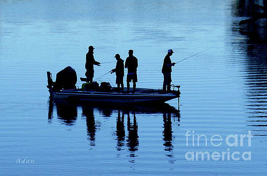 Felipe Adan Lerma - Birds Boaters and Bridges of Barton Springs - Fishermen in Blue