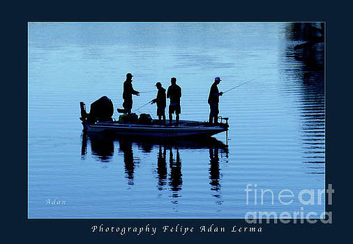 Felipe Adan Lerma - Birds Boaters and Bridges of Barton Springs - Fishermen in Blue Greeting Card and Poster
