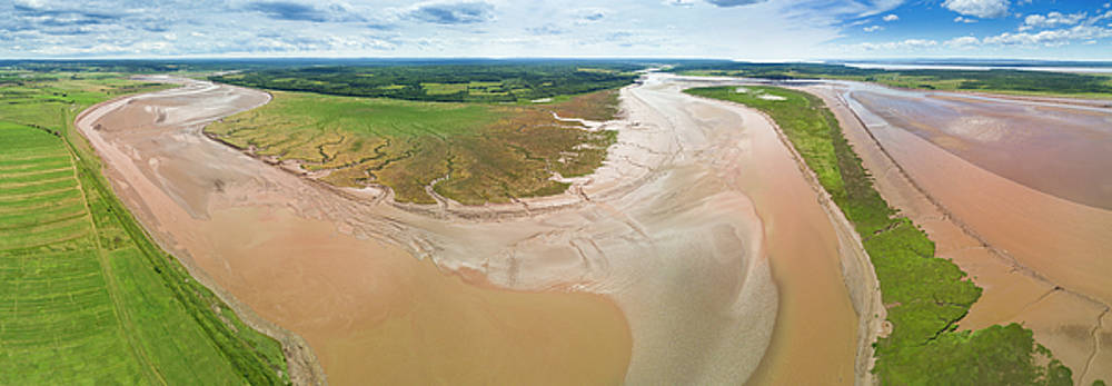 Birds Eye Panorama of the Highest Tides in the World Bay of Fundy by Scott Leslie