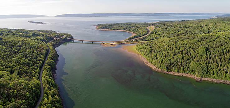 Birds-eye View Aerial Photograph of Bear River Birdge and Annapolis Basin Nova Scotia by Scott Leslie