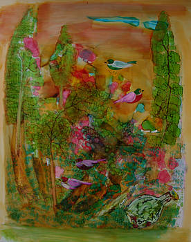 Birds in exotic landscape # 57 by Sima Amid Wewetzer