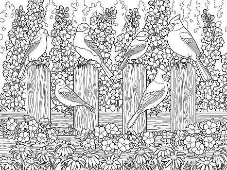 Crista Forest - Birds In Flower Garden Coloring Page