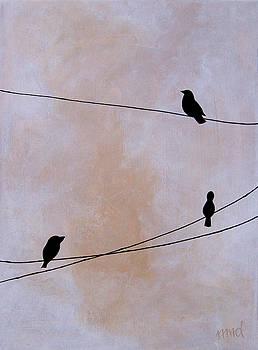 Birds on Wire White by Nicole Dietz