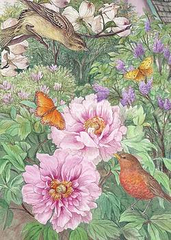 Birds Peony Garden Illustration by Judith Cheng