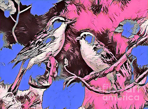 Birds Pink and Blue by Lita Kelley