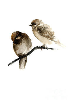 Birds watercolor painting, Giclee poster Gift idea, Two sparrows home decor by Joanna Szmerdt