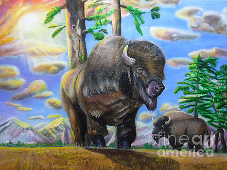 Bison Acrylic Painting by Thomas J Herring