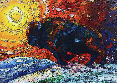 Bison Running print of OLena Art Wild the Storm Oil Painting With Palette Knife  by OLena Art Brand