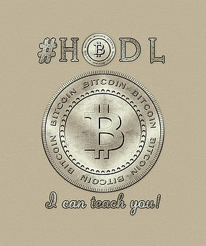 Bitcoin Symbol Logo HODL Quote Typography by Georgeta Blanaru