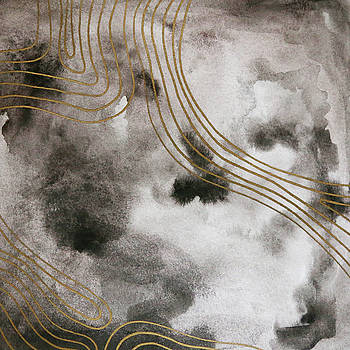 Black and Gold Watercolor by Cortney Herron