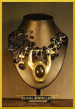 Black and Gold Wire Wrapped Necklace with Matching Earrings by Janine Antulov