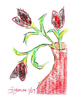 Black and Red Tulips by Suzanne Blender