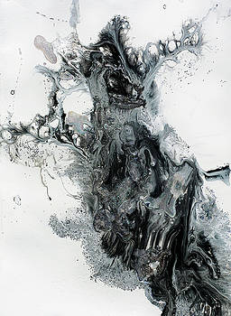 Black and White Abstract Painting  by Julia Fine Art