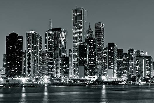 Black and White and Grey Chicago Night by Frozen in Time Fine Art Photography