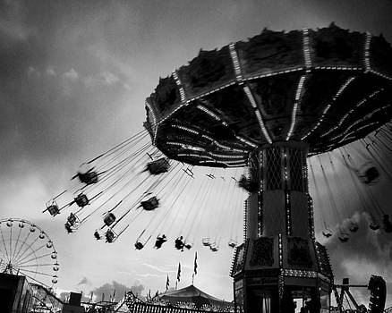 Black And White Carnival Swings by Gothicrow Images