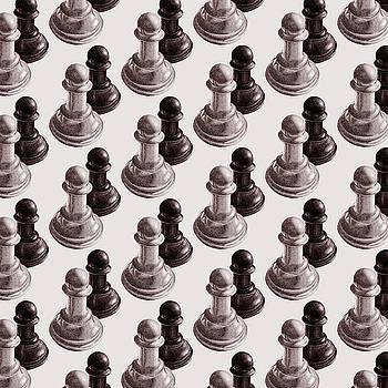 Black And White Chess Pawns Pattern by Boriana Giormova