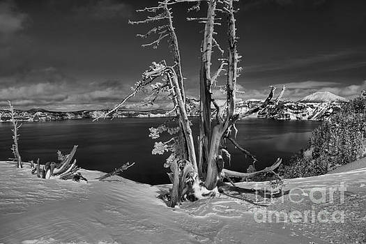 Adam Jewell - Black And White Crater Lake Landscape