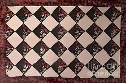 Black and White Checkered Floor Cloth by Judith Espinoza