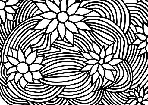 Black and White Flower ornament by Fady Dow
