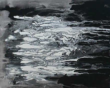 Black And White Fluid Painting by Alma Yamazaki