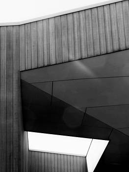 Black and White Geometric Building Abstract  by Denise Clark
