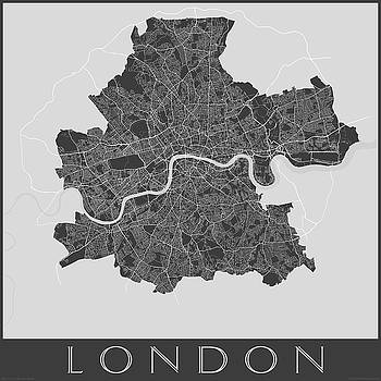 Black and White Map of London by Julie Witmer