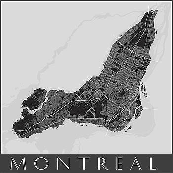 Black and White Map of Montreal by Julie Witmer