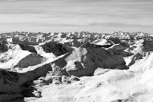 Steve Krull - Black and White of the Summit of Mount Elbert Colorado in Winter