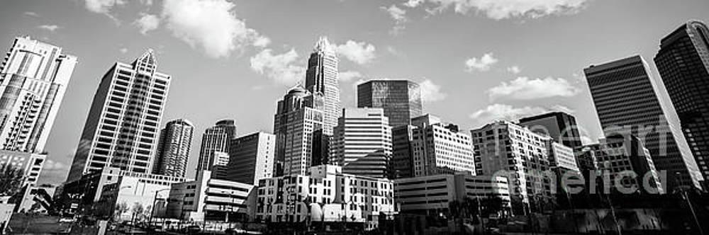 Paul Velgos - Black and White Panorama Photo of Charlotte Skyline