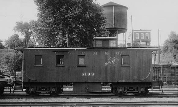 Chicago and North Western Historical Society - Black and White Photo of Caboose