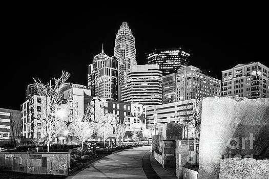 Paul Velgos - Black and White Photo of the Charlotte Skyline