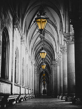 Black and white picture of city hall corridor with lanterns and pillars in Vienna rathaus by Mirko Dabic