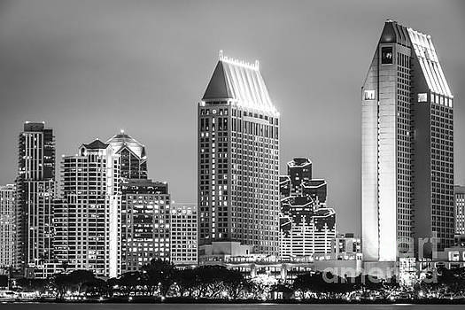 Paul Velgos - Black and White Picture of San Diego Night Skyline