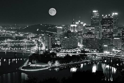 Black and White Pittsburgh Full Moon by Frozen in Time Fine Art Photography