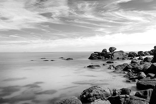 Lorrie Joaus - Black and white rocks and ocean