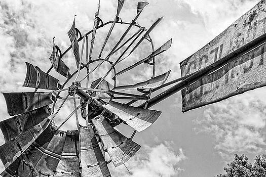 Black and white rusted windmill by Deborah Ann Stott