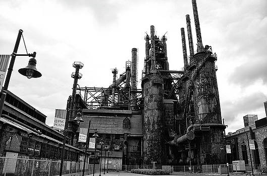 Black and White Steel Stacks - Bethlehem Pa by Bill Cannon