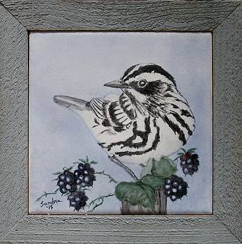 Black and White Warbler Trivet by Sandra Maddox