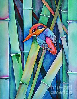 Zaira Dzhaubaeva - Black-backed Kingfisher on Bamboo