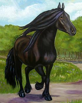 Black Beauty Horse on a Sunny Day by Frances Gillotti