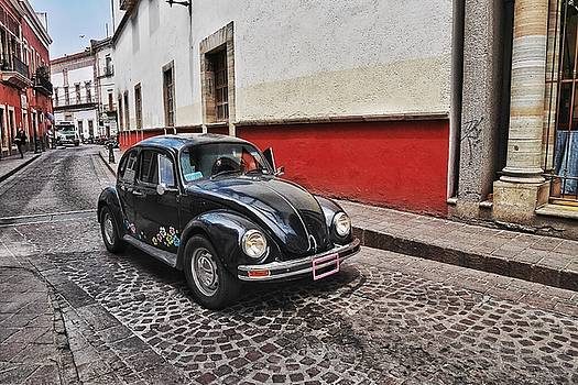 Black Beetle on Red and White Street by Steffani Cameron