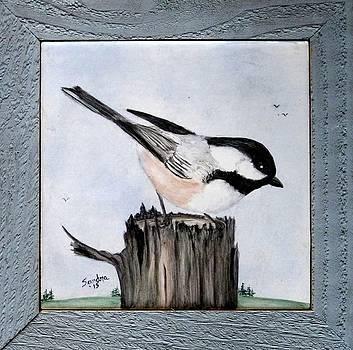 Black-capped Chickadee Trivet by Sandra Maddox
