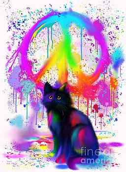 Black Cat Rainbow Peace by Nick Gustafson