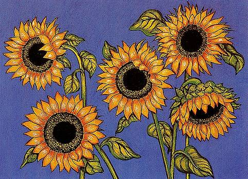 Black Centred Sunflowers by Richard Lee