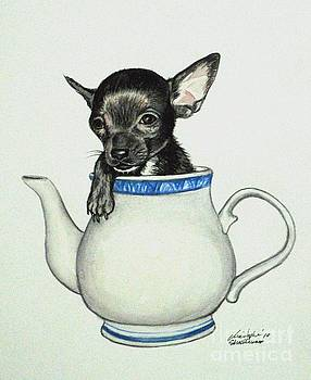 Black Chihuahua in a teapot by Christopher Shellhammer