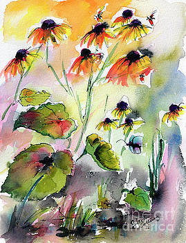 Ginette Callaway - Black Eyed Susan Flowers Botanical Watercolor