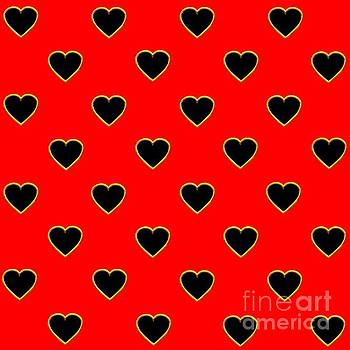 Rose Santuci-Sofranko - Black Hearts on a Red Background Saint Valentines Day Love and Romance