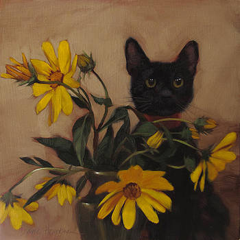 Black Kitten and Wildflowers by Diane Hoeptner